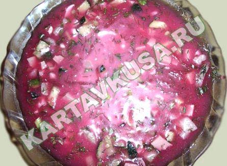 холодный борщ с колбасой рецепт фото