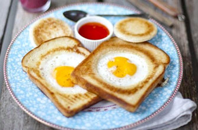 Яичница в хлебе на сковороде рецепт с фото
