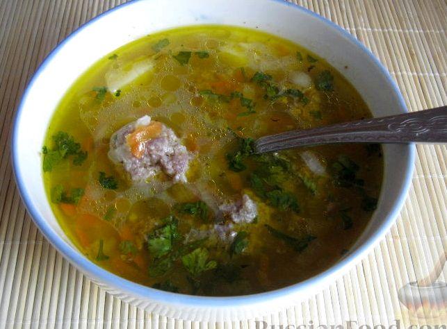 Суп с фрикадельками пошаговый с рисом