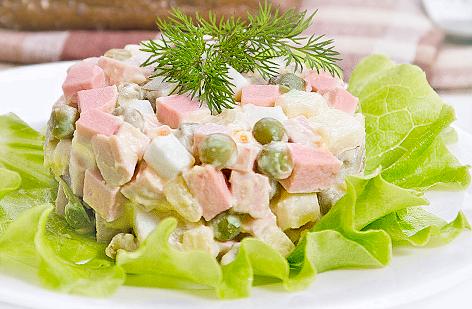 Классический салат оливье с колбасой рецепт с фото