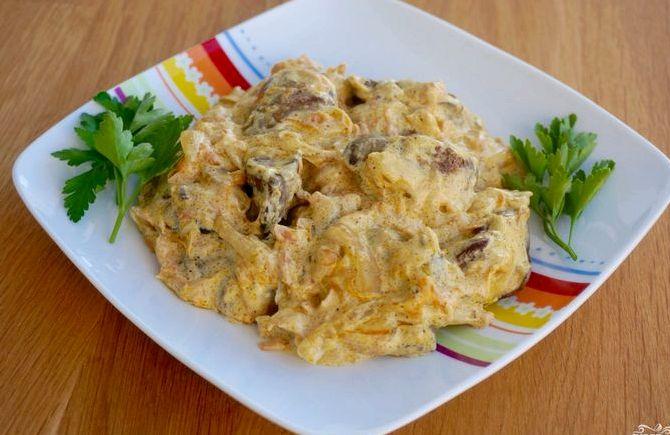Рецепт салата полянка курица грибы сыр