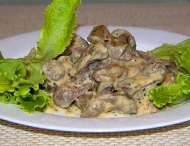 Куриные желудки тушеные в сметане рецепт с пошагово