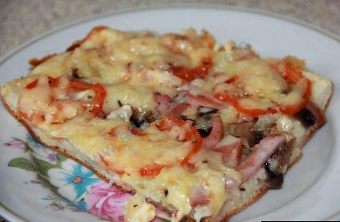 Пицца из жидкого теста на кефире рецепт