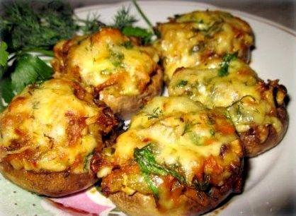 Фаршированные шампиньоны сыром рецепт с фото пошагово ...