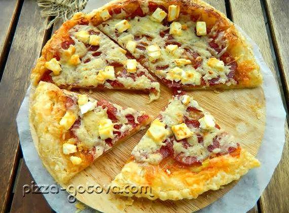 Рецепт пиццы из бездрожжевого слоеного теста