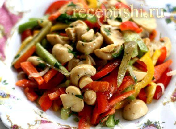 Салат рецепт с грибами маринованными и грецкими орехами