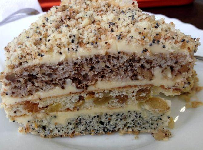 Рецепт торта с изюмом маком орехами и изюмом