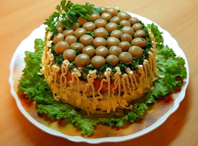 как приготовить салат грибная поляна пошаговый рецепт