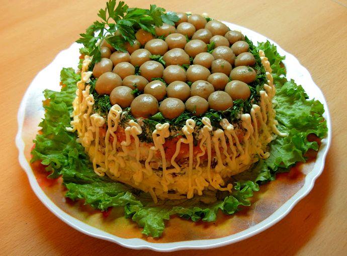 Салат грибная поляна пошаговый рецепт с фото с шампиньонами
