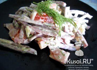 Салат грузинский с помидорами и колбасой рецепт с фото