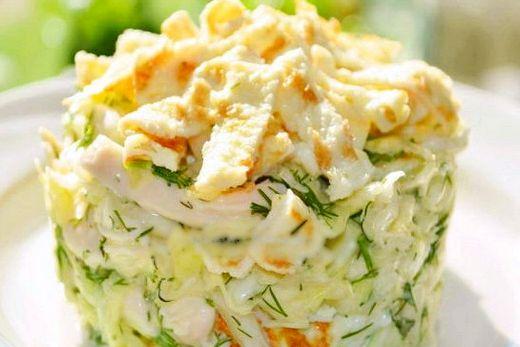 салат с яичными блинчиками рецепт с фото и курицей #7