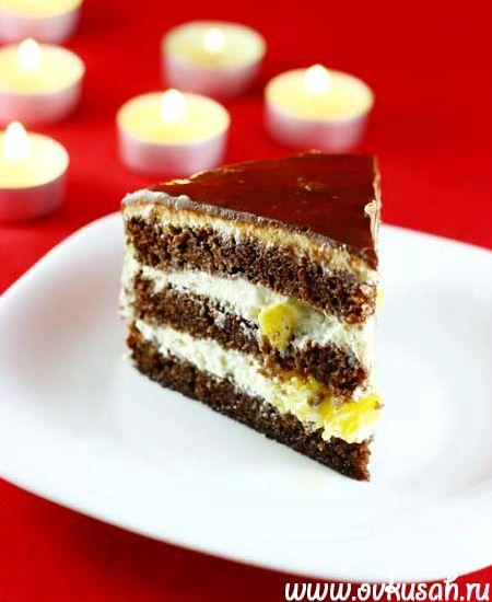 Шоколадный торт с творожным кремом рецепт с фото