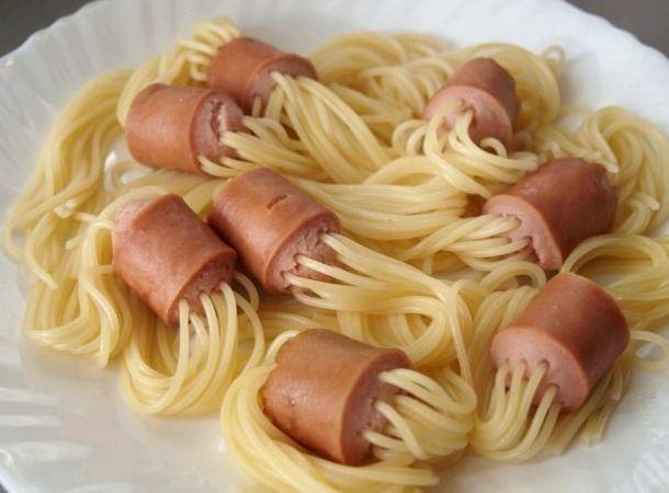 сосиски с макаронами внутри рецепт с фото