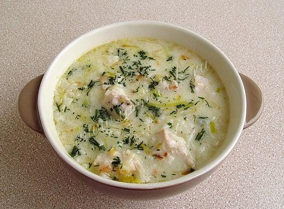 Рецепт супа с плавленным сыром и куриным филе
