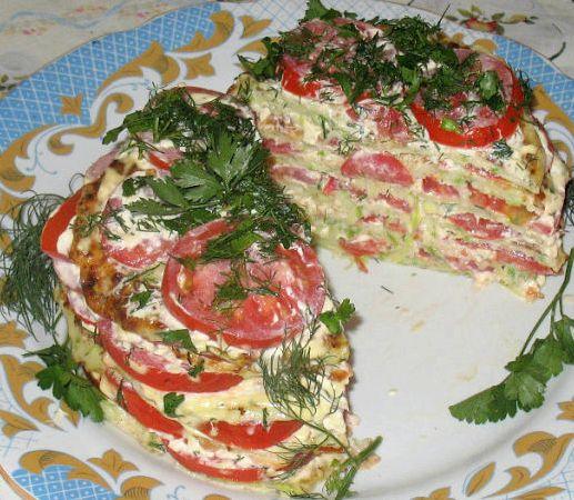 Пирог из кабачков с помидорами рецепт