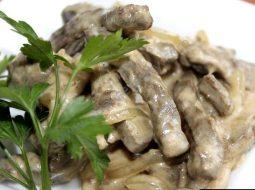 Бефстроганов из печени говяжьей рецепт с фото