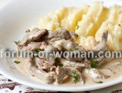 Бефстроганов рецепт из свинины со сливками