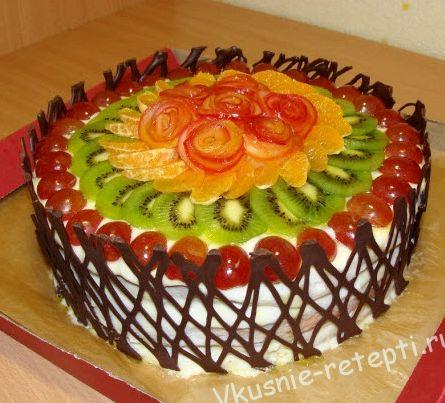 Бисквитный торт фруктовый рецепт с фото