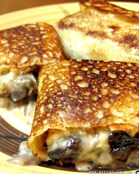 Блинчики с грибами и с сыром фото рецепт