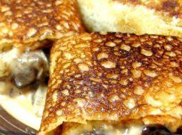 Блинчики с грибами и сыром рецепт с фото
