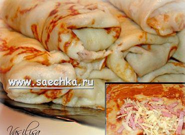 Блинчики с ветчиной и сыром рецепт с фото пошагово