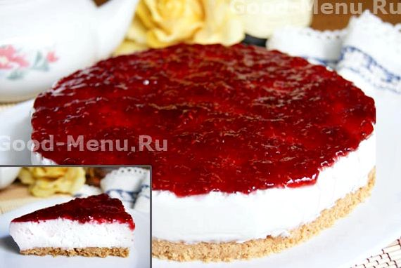 Чизкейк творожный без выпечки с желатином рецепт с фото