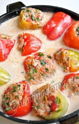 Фаршированный перец рецепт в сметанном соусе