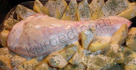 Голень индейки с картошкой в духовке рецепт с фото