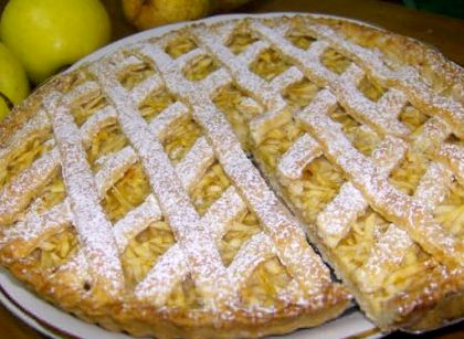 Яблочный пирог рецепт с фото из песочного теста