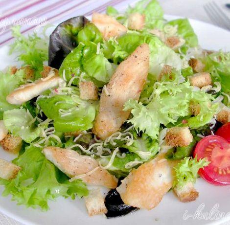 Как приготовить салат цезарь с курицей и сухариками пошаговый рецепт