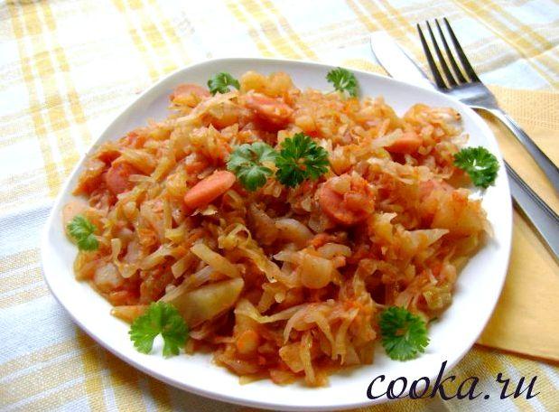 Капуста тушеная с картошкой и сосиской рецепт с фото