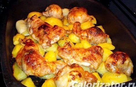 Картошка с бёдрышками в духовке рецепт с фото