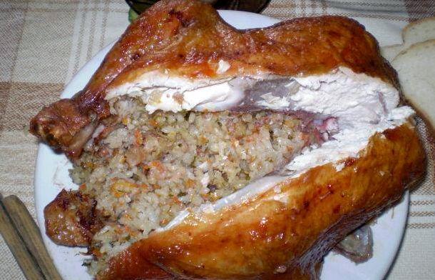Курица целиком с гречкой в духовке рецепт с фото