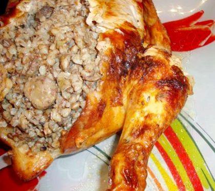Курица фаршированная гречкой в духовке целиком рецепт с фото