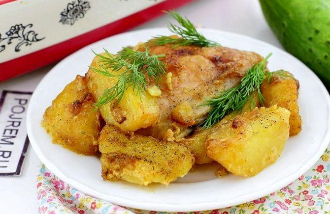 Курица с картошкой в духовке с майонезом и чесноком рецепт