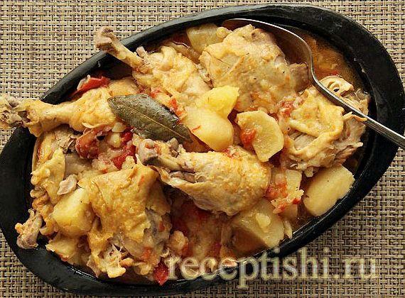 Курица с картошкой в сковороде рецепт с фото