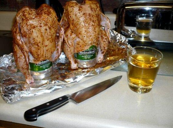 Курица в духовке на бутылке с пивом рецепт с фото