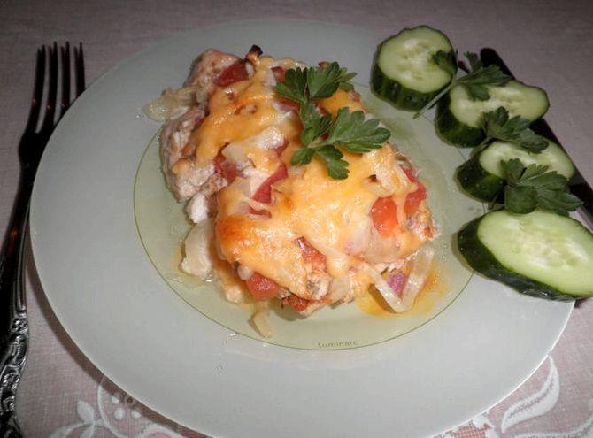 Куриное филе в духовке с помидорами и сыром рецепт