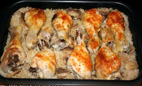 Куриные ножки в духовке с рисом рецепт с фото