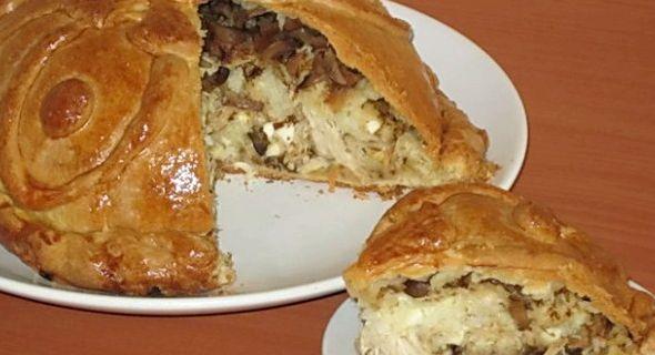 Курник с картошкой и курицей рецепт из слоеного теста