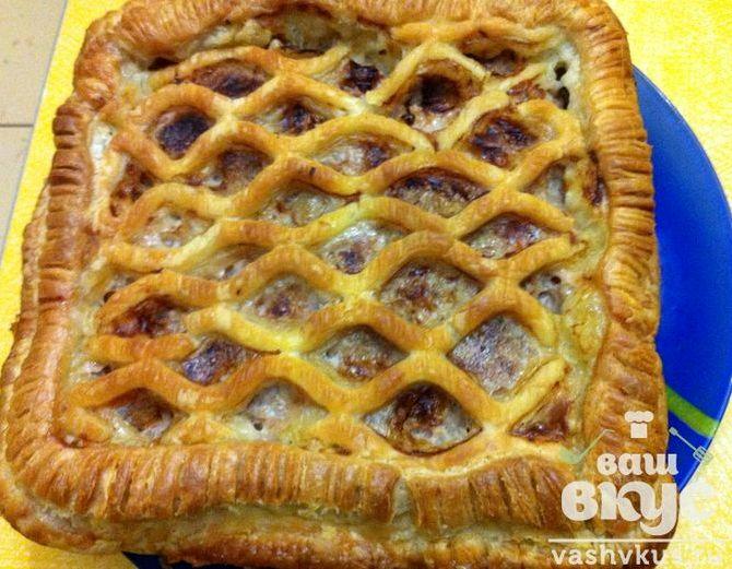 Мясной пирог из дрожжевого теста рецепт с фото