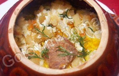 Мясо в горшочке с картошкой в духовке рецепт с фото с грибами