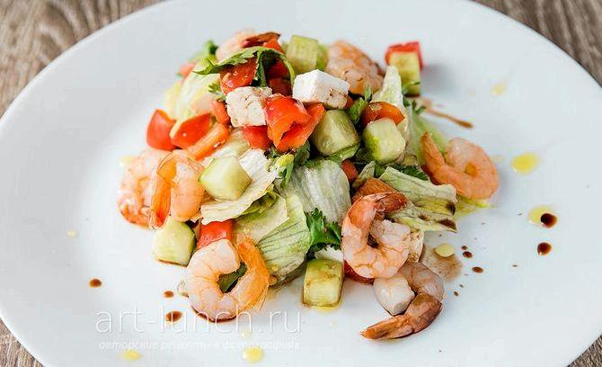 Овощной салат с креветками рецепт с фото
