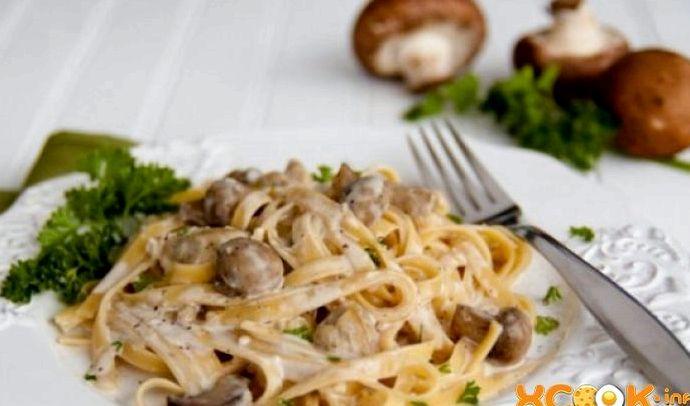 Паста с курицей и грибами в сливочном соусе пошаговый рецепт