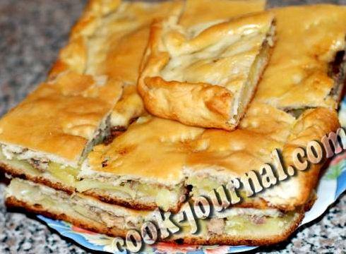 Пирог из дрожжевого теста с сайрой и картошкой рецепт с фото