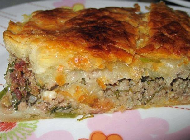 Пирог мясной рецепт с фото со слоеным тестом