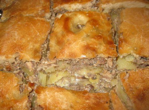 Пирог с картошкой и сайрой из дрожжевого теста рецепт с фото