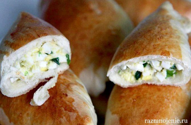 Пирожки с зелёным луком и яйцом в духовке пошаговый рецепт