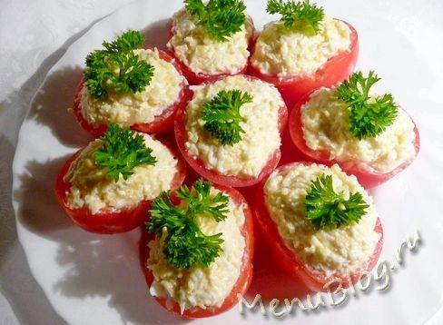 Помидоры с чесноком и сыром фото рецепт