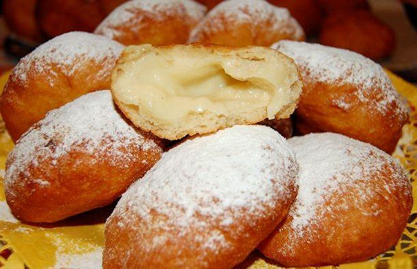 Пончики с заварным кремом рецепт с фото